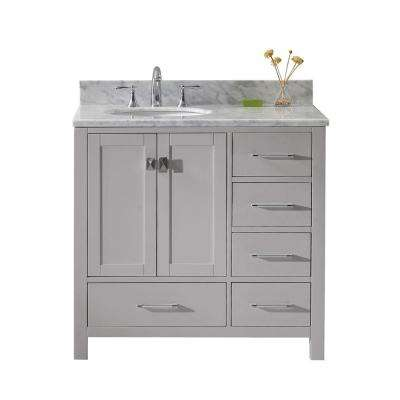 Caroline Avenue 36 in. W Bath Vanity in Cashmere Gray with Marble Vanity Top in White with Round Basin