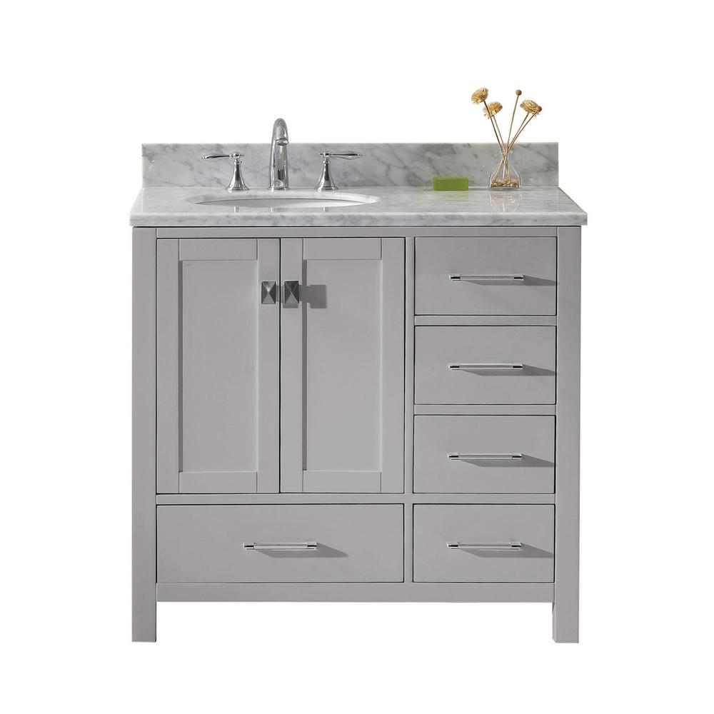 Caroline Avenue 36 in. W Vanity in Cashmere Grey with Marble