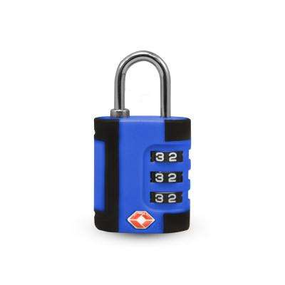 3 Digit Combination Padlock 2 Tone in Blue/Black - TSA Approved