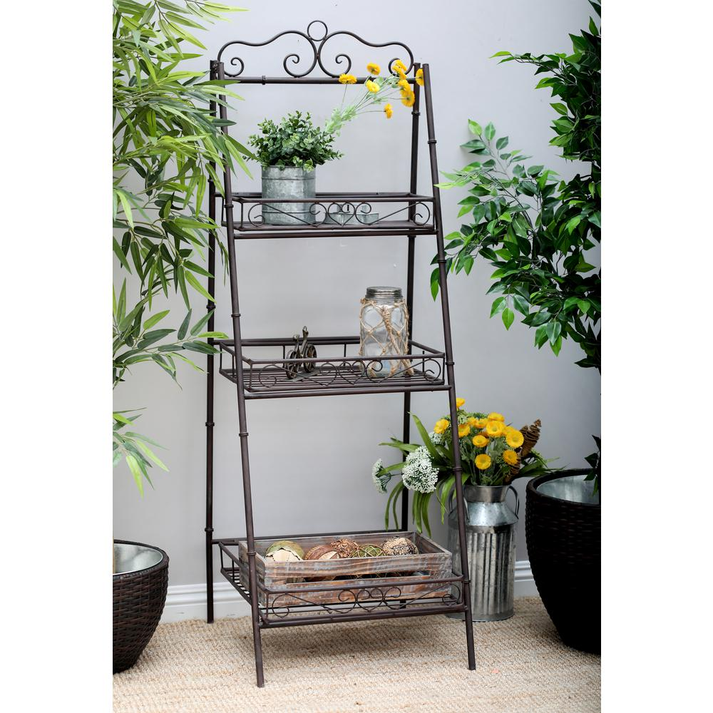 Litton Lane Black 3 Tier Ladder Shelf