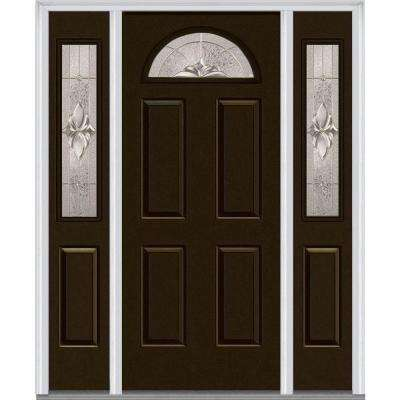 68.5 in. x 81.75 in. Heirlooms Left-Hand 1/4-Lite Decorative Painted Fiberglass Smooth Prehung Front Door with Sidelites