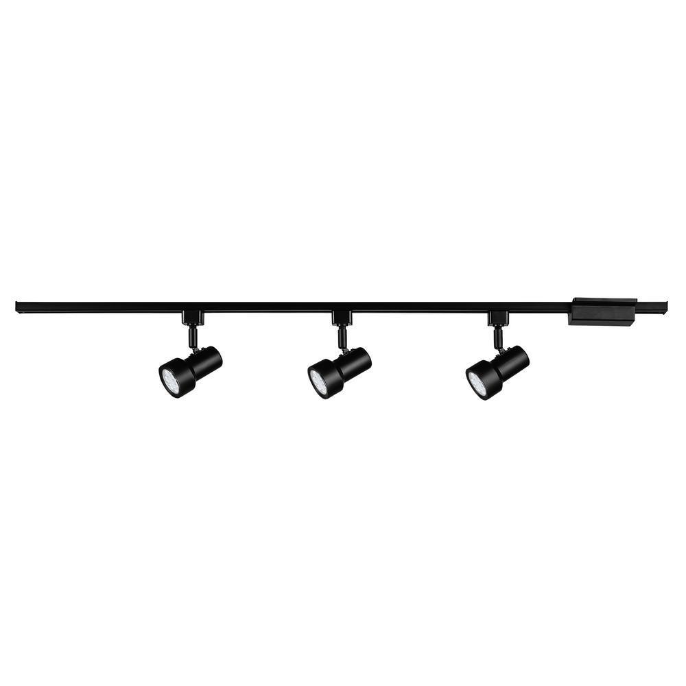 Hampton Bay Track Lighting Change Bulb: Hampton Bay Mini Step 44 In. Black Integrated LED Linear
