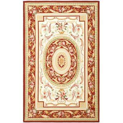 Chelsea Ivory/Burgundy 7 ft. 9 in. x 9 ft. 9 in. Area Rug