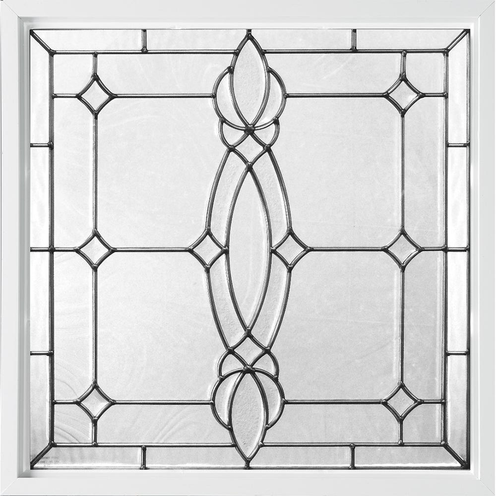 Hy-Lite 25 in. x 25 in. Decorative Glass Fixed Vinyl Window - White