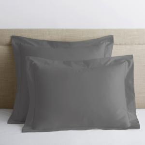 Legends Luxury Solid Gray Smoke 500-Thread Count Cotton Sateen King Sham