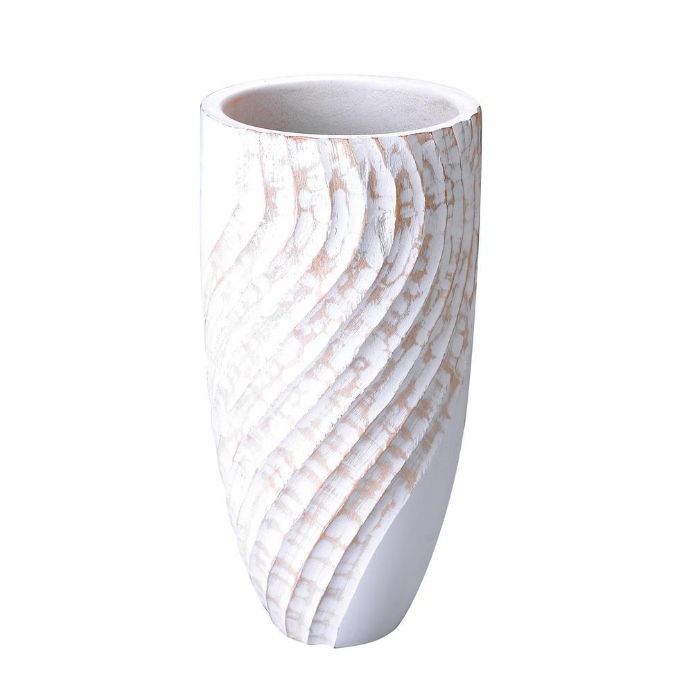 White Tall Handmade Decorative Round Mango Wood Swirl Vase