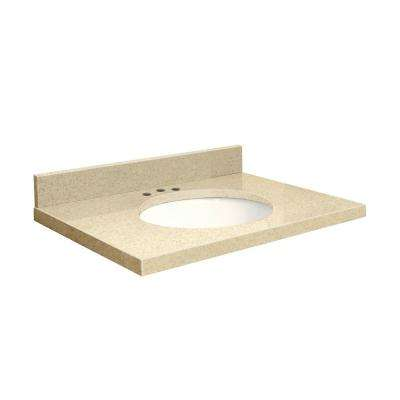25 in. W x 22 in. D Quartz Vanity Top in Nature's Path with White Basin