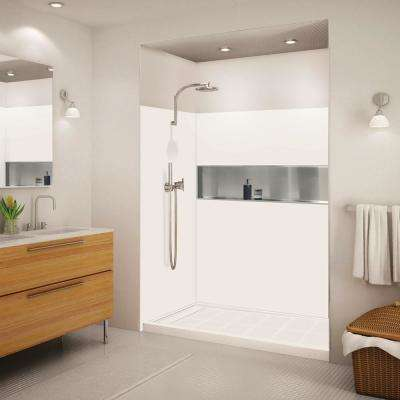 Expressions 32 in. x 60 in. x 72 in. 3-Piece Easy Up Adhesive Alcove Shower Wall Surround in White
