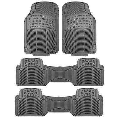 Gray Heavy Duty 3 Row 4-Piece 29 in. x 18 in. Vinyl Car Floor Mats