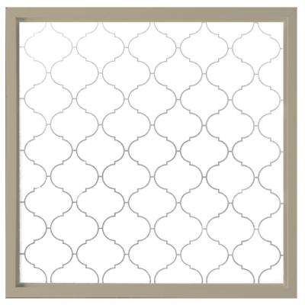 23.5 in. x 23.5 in. Baroque Decorative Glass Picture Vinyl Window - Tan