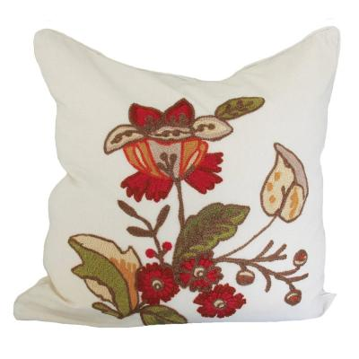 18 in. x 18 in. Floral Crewel Embroidery Feather Filled Pillow