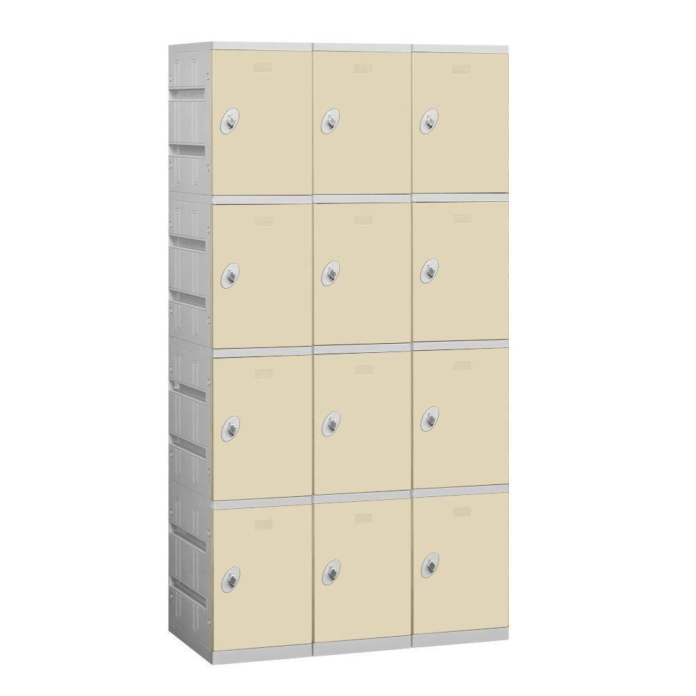 Salsbury Industries 94000 Series 38.25 in. W x 74 in. H x 18 in. D 4-Tier Plastic Lockers Unassembled in Tan