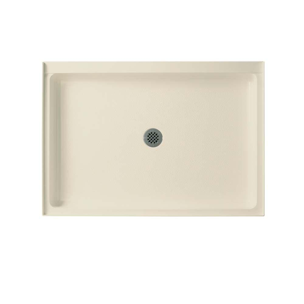Swan 34 in. x 54 in. Solid Surface Single Threshold Center Drain Shower Pan in Bone