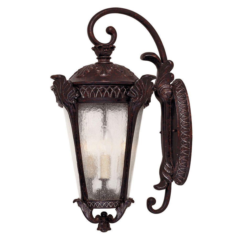 Illumine 3-Light Wall Mount Lantern Distressed Bronze Finish Pale Cream Textured Glass