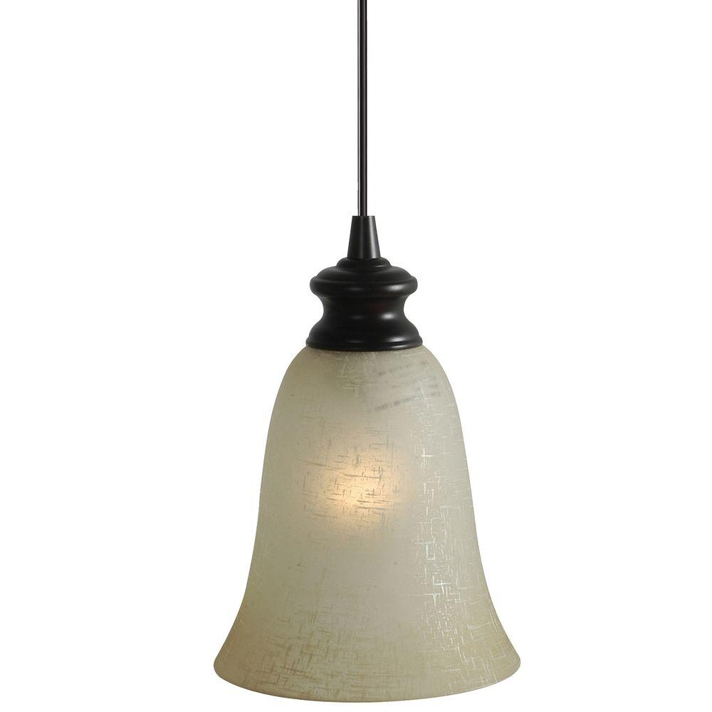 Worth Home Products Brushed Bronze Finish with Linen Glass Pendant Light-DISCONTINUED