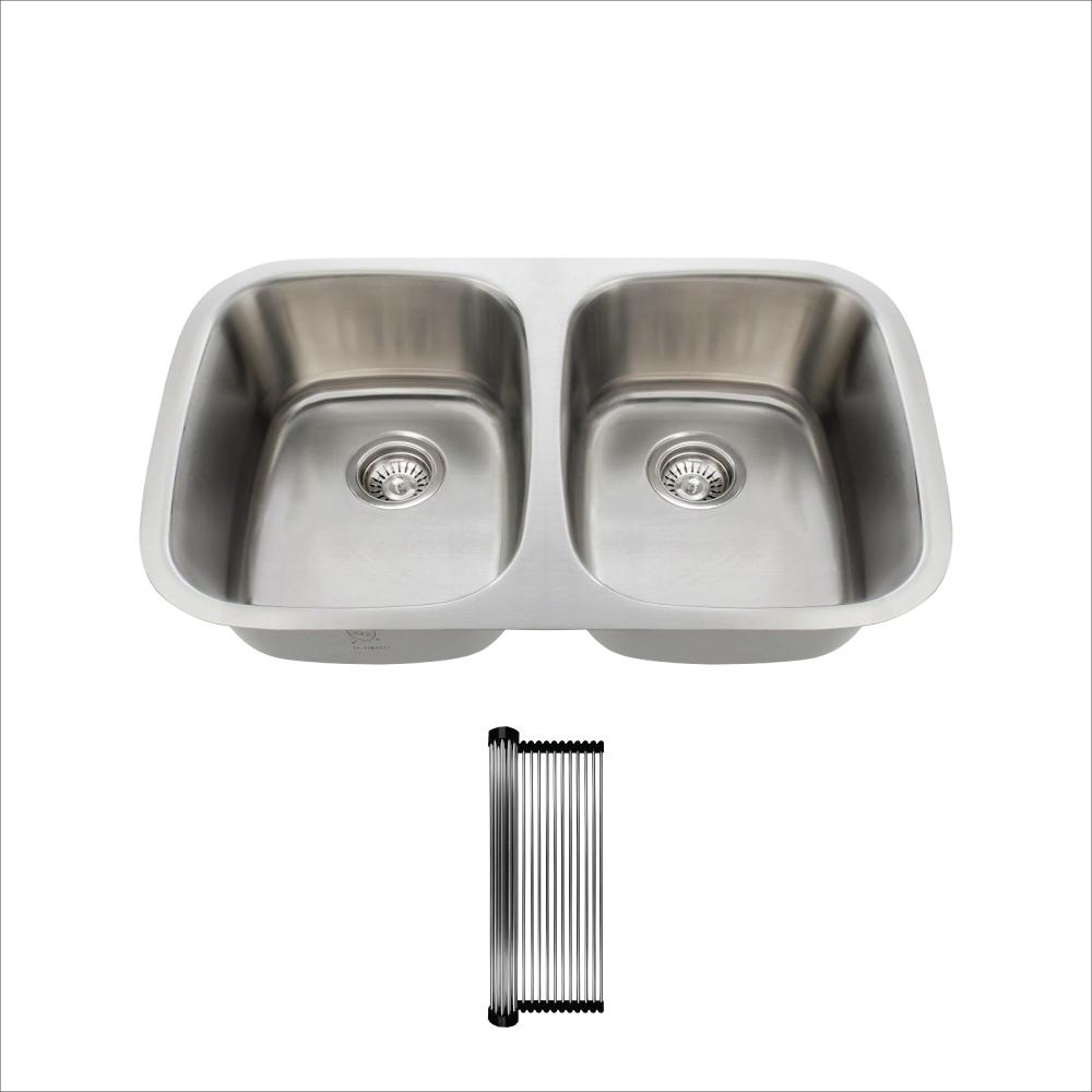 All-in-One Undermount Stainless Steel 29-1/4 in. 50/50 Double Bowl Kitchen Sink