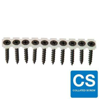 #6 x 1-1/4 in. Coarse Phosphate-Plated Black Phillips Pan-Head Collated Drywall Screw (1,000-Pack)