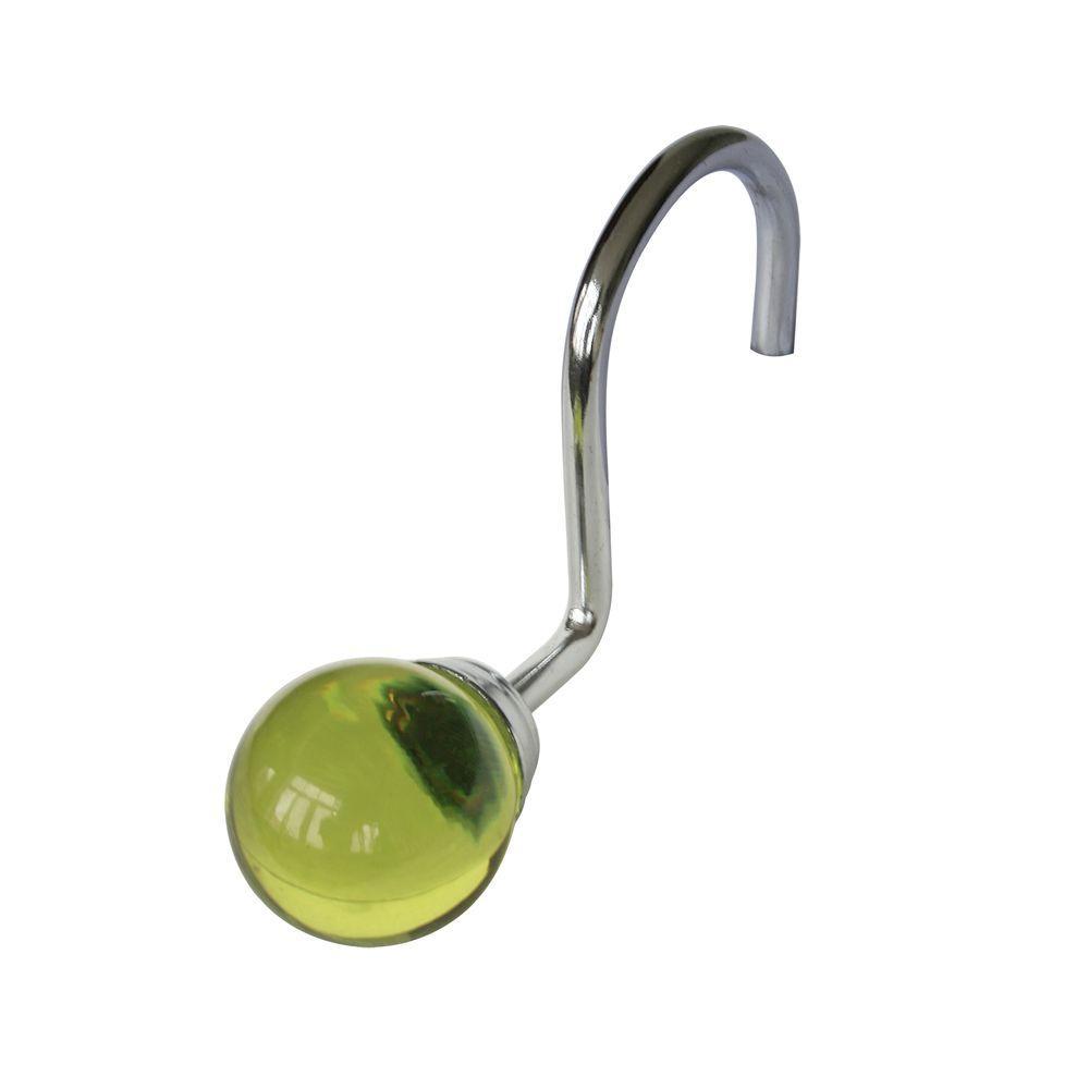 Elegant Home Fashions Globe Hooks in Sage and Chrome (12-Pack)