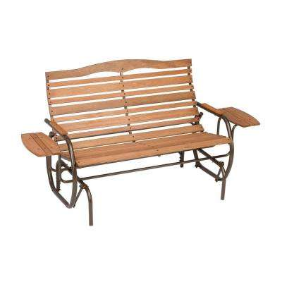 Country Garden Outdoor Hardwood Bench Glider with Trays