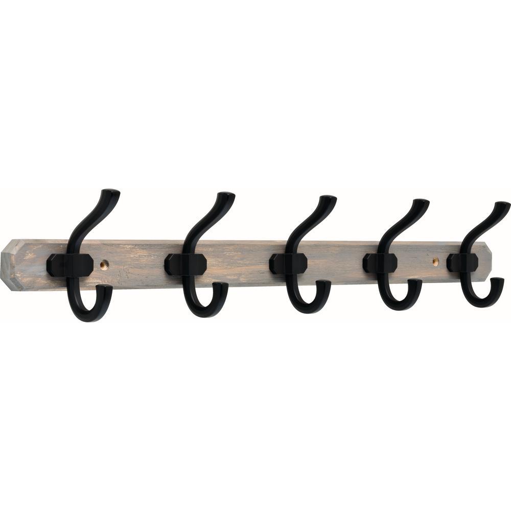 24 in. Graywash and Flat Black Hook Rack