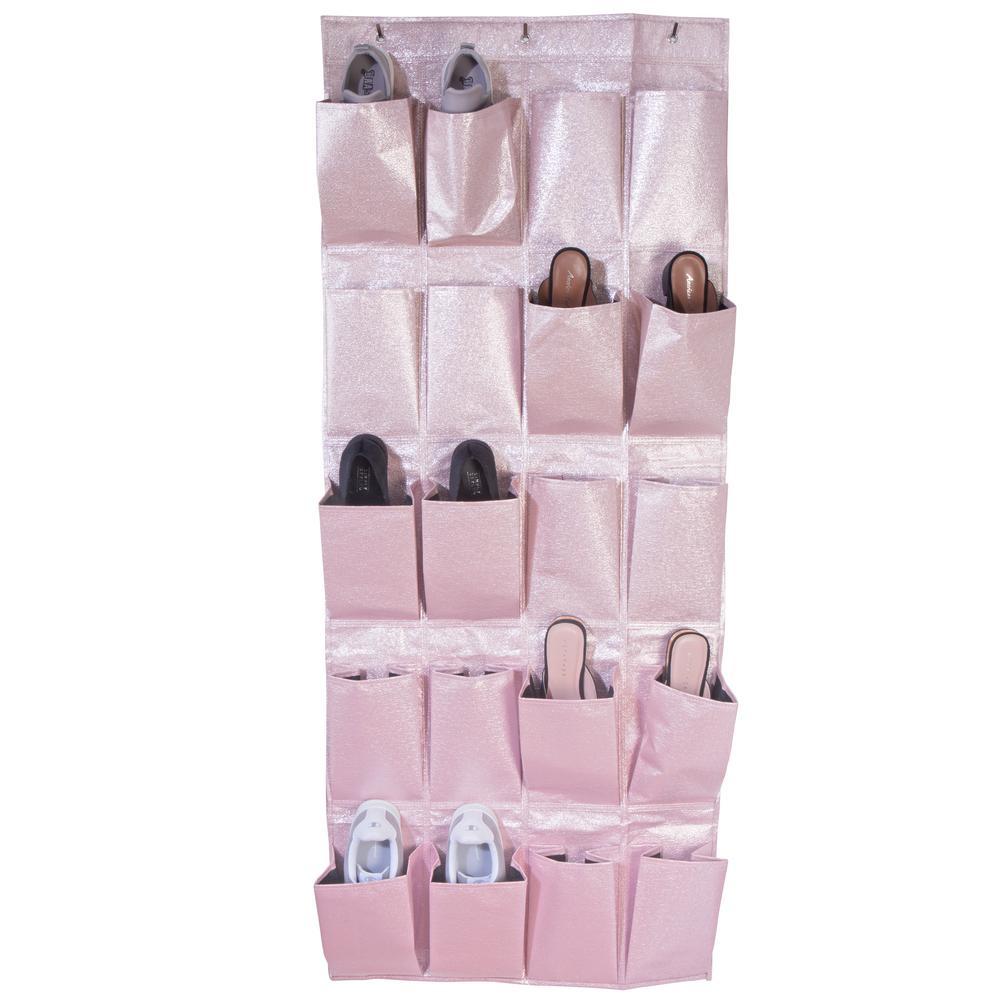 Metallic 20 Pocket Over The Door Shoe Organizer in Blush