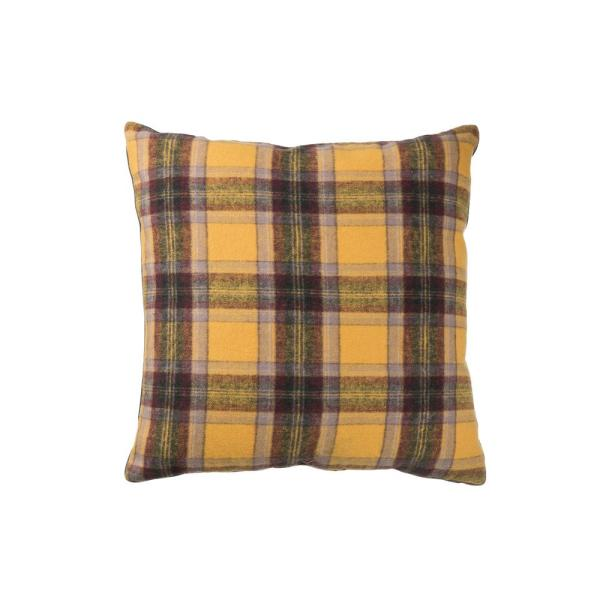 Yellow, Marron and Black Plaid Reversible 24 in. x 24 in. Throw Pillow