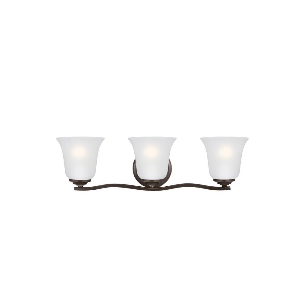 Sea Gull Lighting Emmons 3-Light Heirloom Bronze Bath Light with LED Bulbs