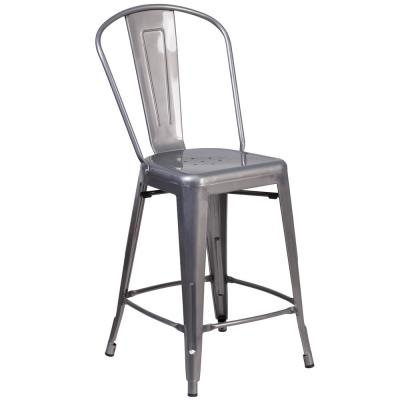 24.5 in. Clear Coated Bar Stool