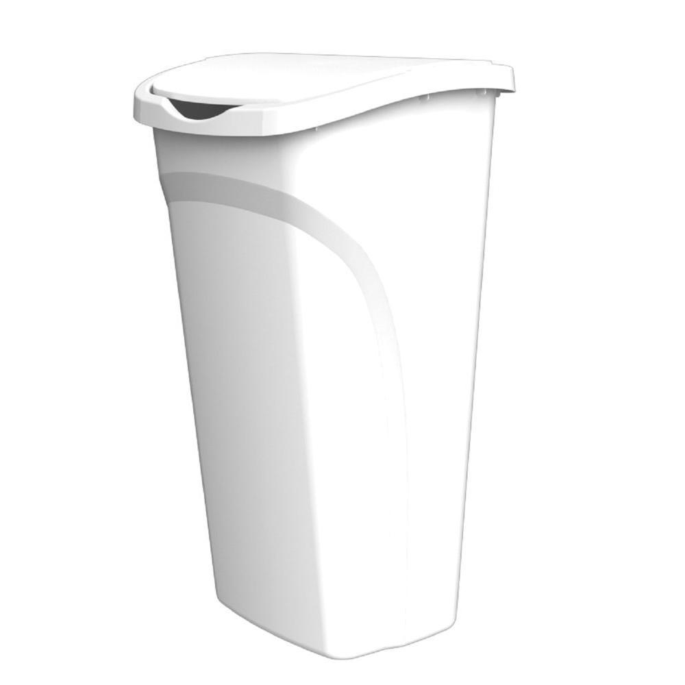 united solutions 40 qt white dual swing wastebasket wb8115 the home depot. Black Bedroom Furniture Sets. Home Design Ideas