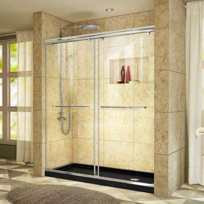 Charisma 34 in. x 60 in. x 78.75 in. Shower Kit in Chrome with Right Drain Shower Base