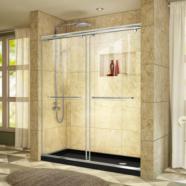 Charisma 34 in. x 60 in. x 78.75 in. Semi-Frameless Sliding Shower Door in Chrome with Right Drain Shower Base