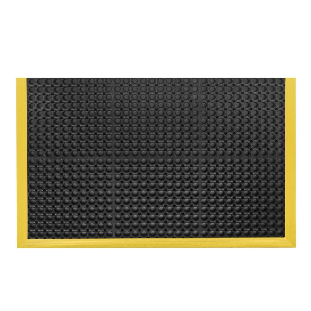 Notrax safety stance black with yellow safety border 38 in x 64 in rubber anti fatigue safety - Yellow kitchen floor mats ...