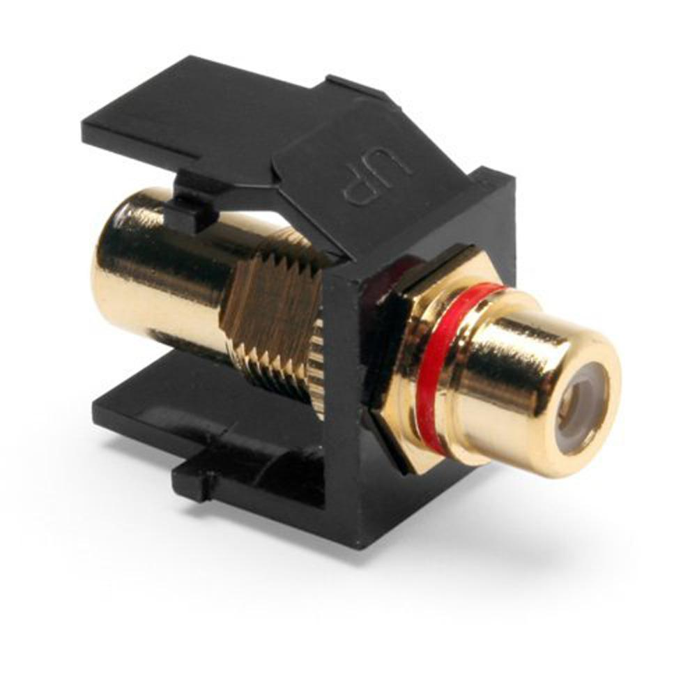 QuickPort RCA Gold-Plated Connector Red Stripe, Black