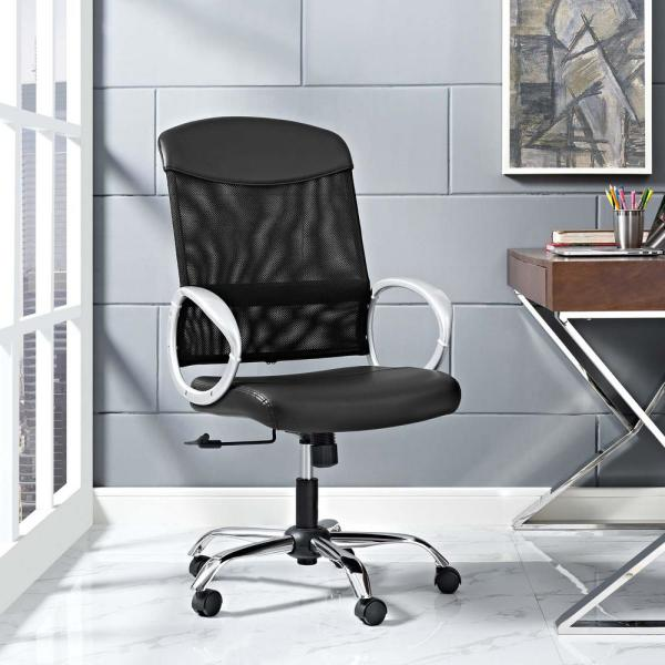 MODWAY Emblem Mesh and Vinyl Office Chair in Black EEI-2860-BLK
