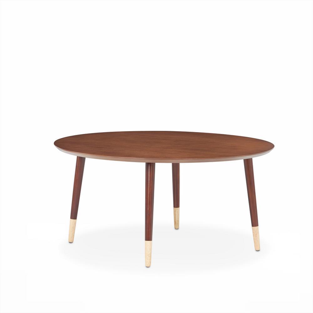 Dein 35 in. Walnut Medium Round Wood Coffee Table