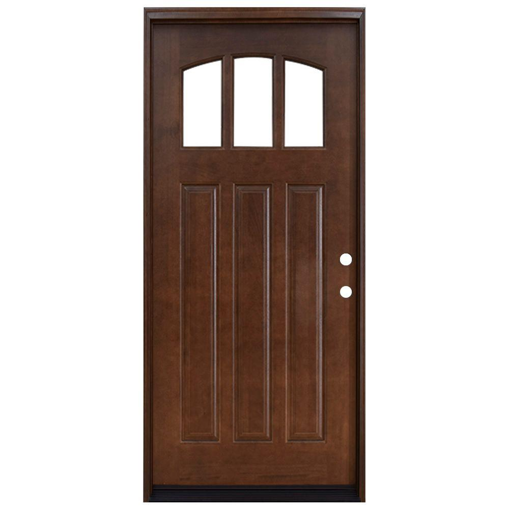 Steves Sons 36 In X 80 In Craftsman 3 Lite Arch Stained Mahogany Wood Prehung Front Door