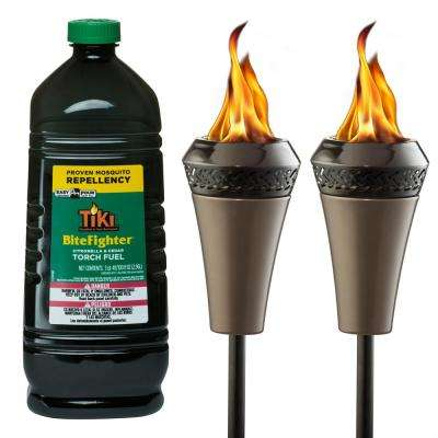 66 in. Island King Large Flame Torch (2-Pack) with 100 oz. BiteFighter Torch Fuel