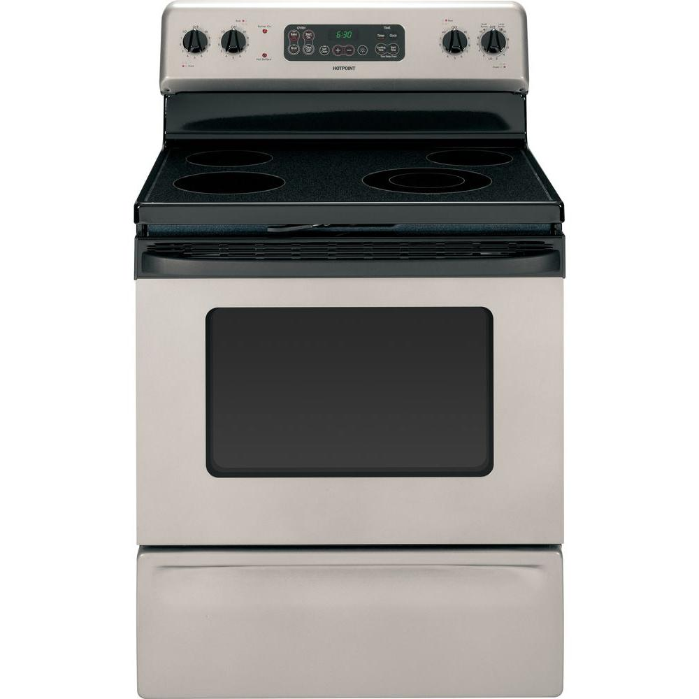 Hotpoint 4.5 cu. ft. Electric Range with Self-Cleaning Oven in Silver Metallic