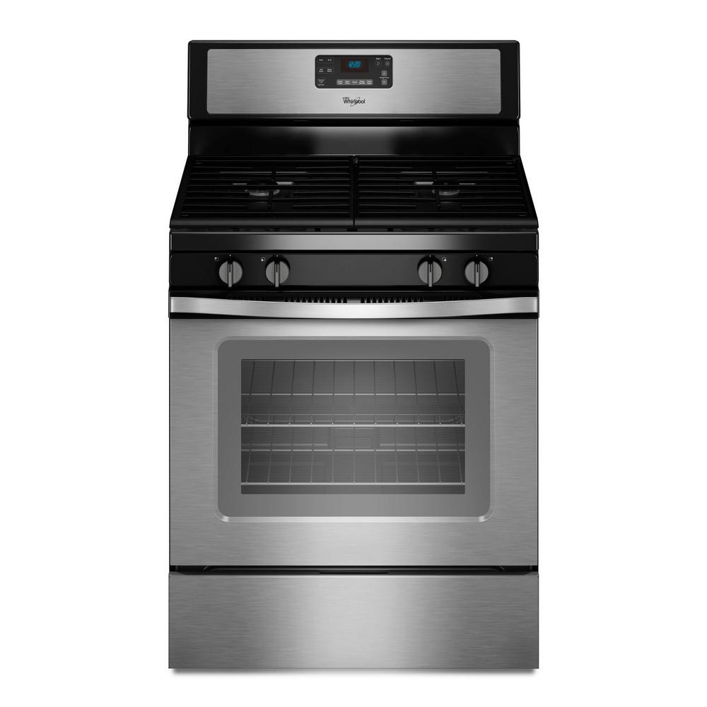 Whirlpool 5.0 cu. ft. Gas Range with Self-Cleaning Oven in Stainless ...