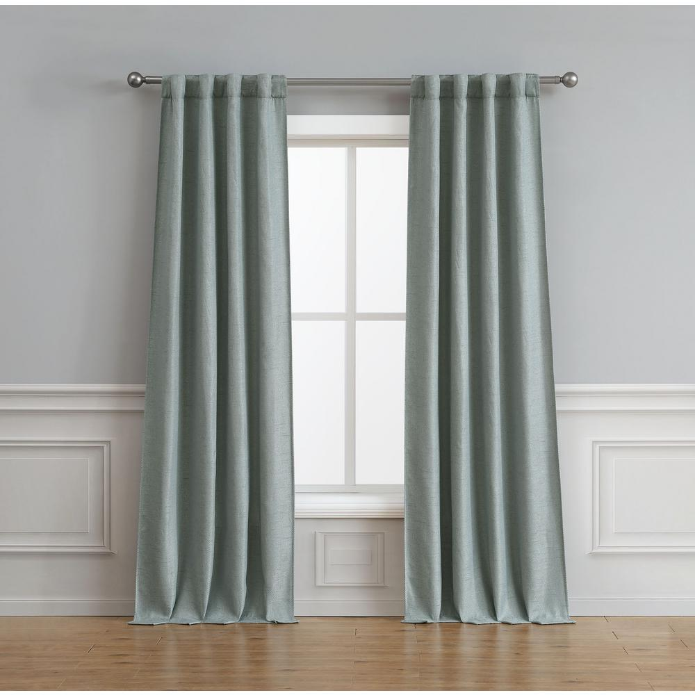 Bella Luna Astrid Thermal Room Darkening Backtab Window Curtain Pair in Aqua - 76 in. x 96 in.