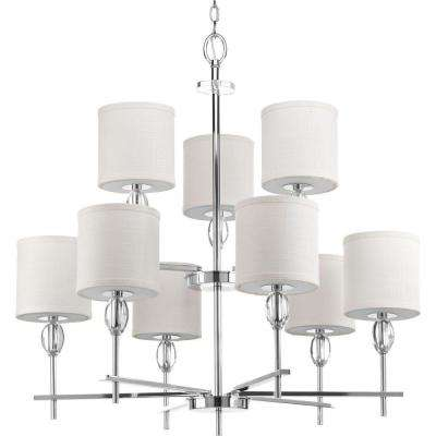 Status Collection 9-Light Polished Chrome Chandelier with White Linen Shade