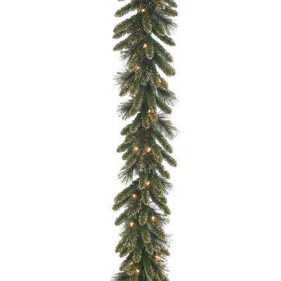 9 ft. Glittery Gold Pine Garland with 50 Clear Lights