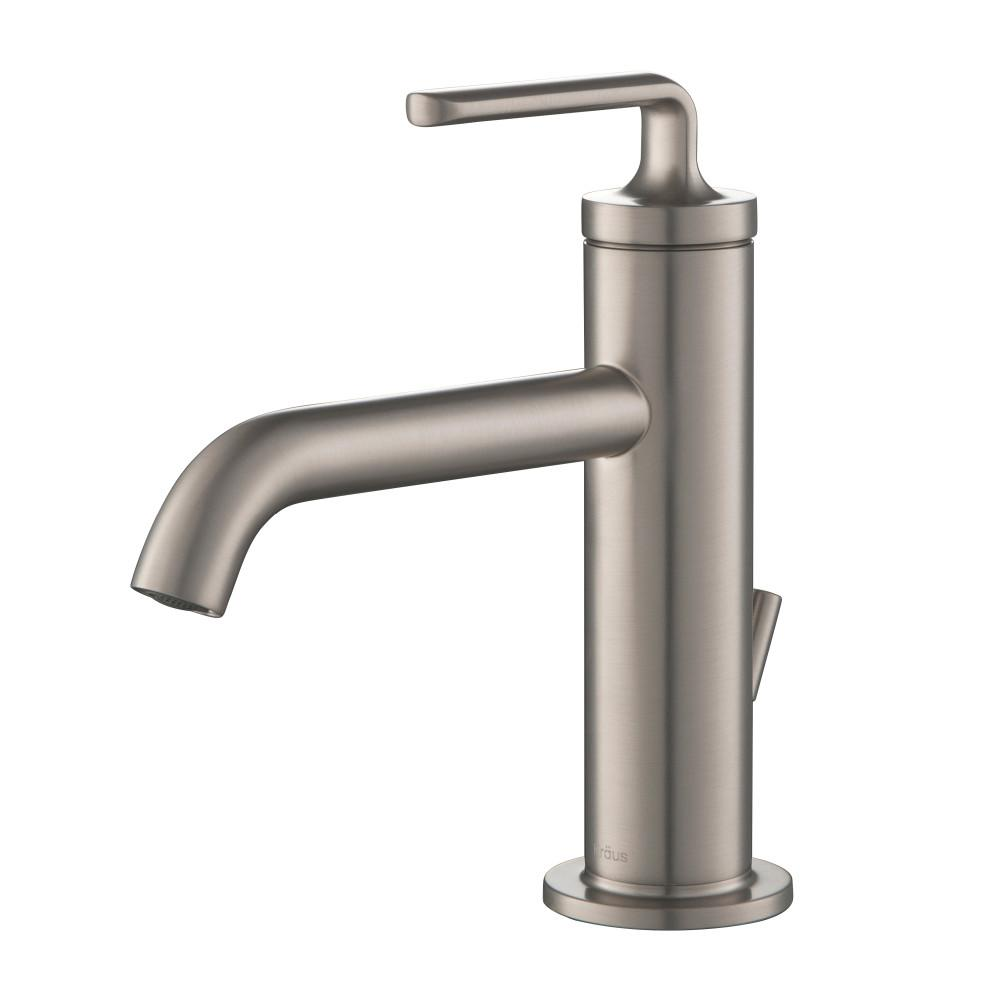 Ramus Single Hole Single-Handle Bathroom Faucet with Matching Lift Rod Drain in Spot Free Stainless Steel