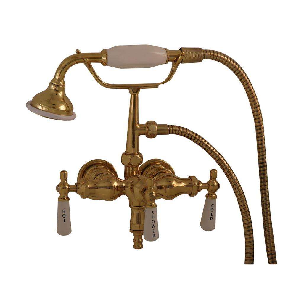 Pegasus 3-Handle Claw Foot Tub Faucet with Old Style Spigot and Hand ...
