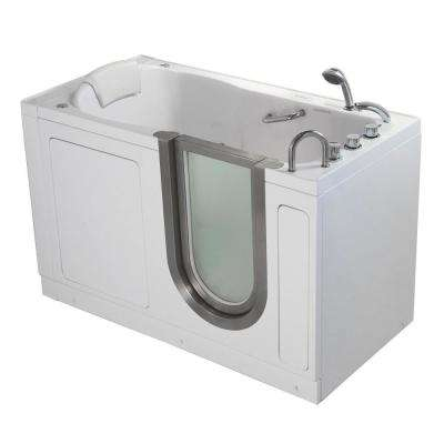 Deluxe 55 in. Walk-In Whirlpool and Air Bath Bathtub in White TCV Faucet Set Digital Control, Heated Seat, RH Dual Drain