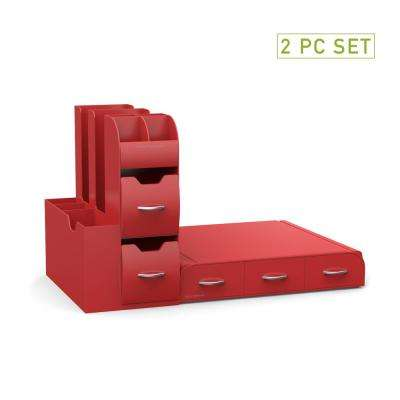 Pod Drawer and Condiment Caddy Red Coffee Station (Set of 2)
