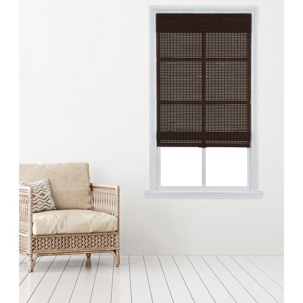 Home Basics Dark Mahogany Carbonized Cordless Bamboo Roman Shade 31 In W X 64 L