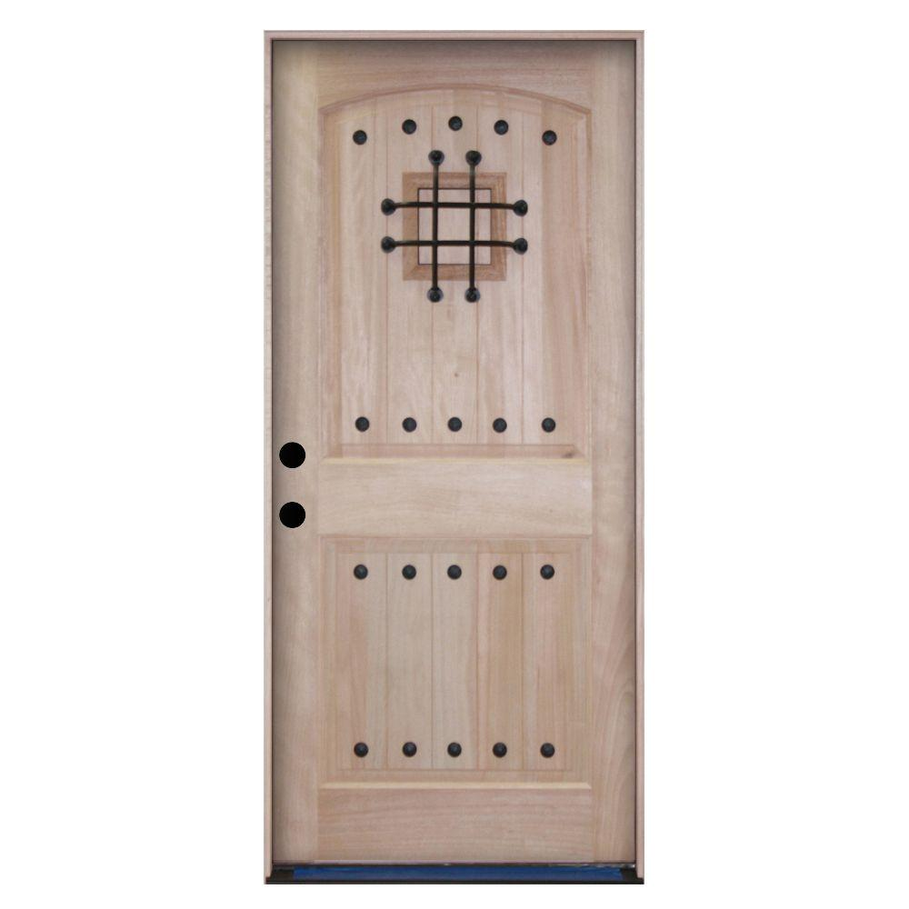 Steves & Sons Rustic 2-Panel Plank Unfinished Mahogany Wood Prehung Front Door with Speakeasy-DISCONTINUED