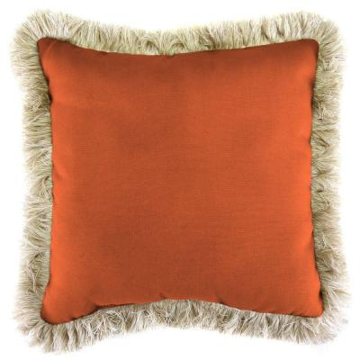 Sunbrella Canvas Tuscan Square Outdoor Throw Pillow with Canvas Fringe
