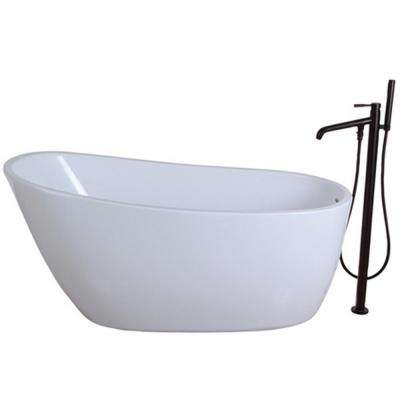 Fusion 4.9 ft. Acrylic Flatbottom Bathtub in White and Freestanding Faucet in Oil Rubbed Bronze